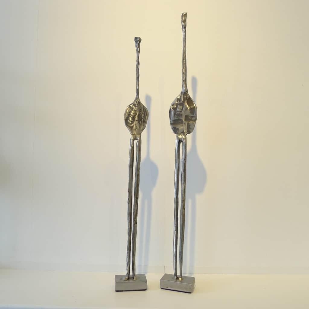 """Metallobjekte """"Blattmenschen"""", Höhe 64,5 und 58,5 cm, Thomas Levin"""