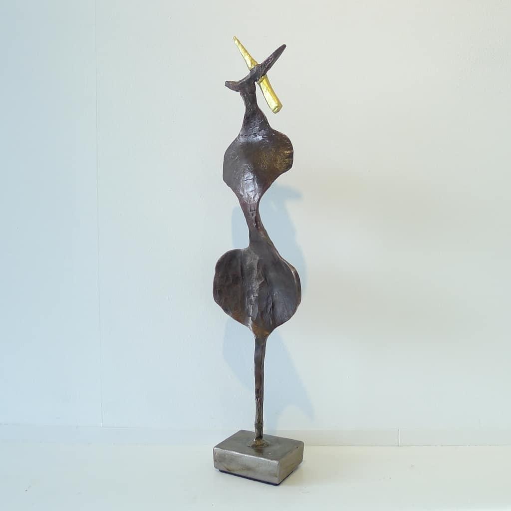 """Metallskulptur """"Der mit dem goldenen Horn"""", Höhe 45,5 cm,Thomas Levin"""