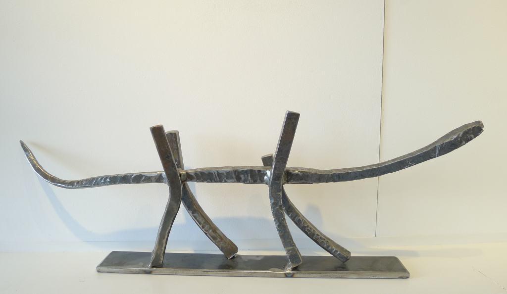 """Metallskulptur """"Unterwegs"""", Höhe 27 cm, Breite 75 cm, Thomas Levin"""
