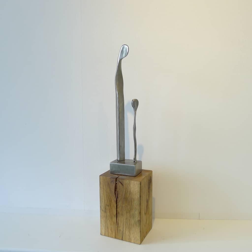 """Metallskulptur """"Vater und Sohn"""", Höhe 50,5 cm,Thomas Levin"""